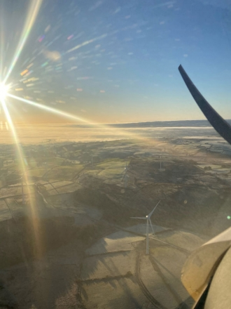 Winter sun, by Cathal McCartan. Cathal on a sightseeing flight from Carrickmore airfield in Northern Ireland in a C42.