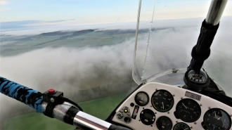 Fleeing from fog, by Geoff Hall. It didn't look like a flying day but in the end proved a good day aloft.