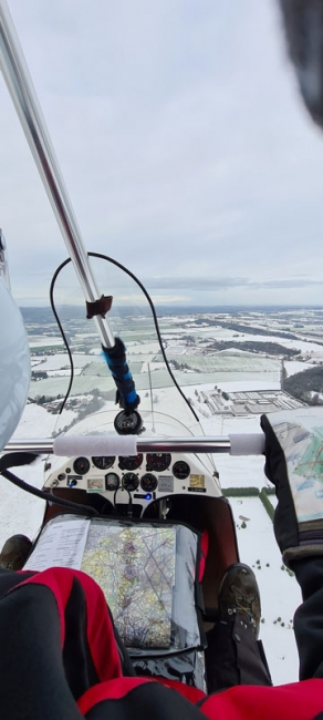 Cold comfort, by Steve Wilkes. Steve enjoying a crisp cold day on a flight from Halfpenny Green in the Midlands.