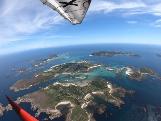 Scilly Isles, by Nick Matthews. Nick arriving at the Scillies in his Quik GTR last summer on a flight from Broadmeadow.