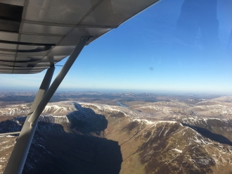 """Winter flight, by John McNab. """"Flying over the Moffat Hills on my way to Saint Mary's Loch in a C42 from Strathaven,"""" said John."""