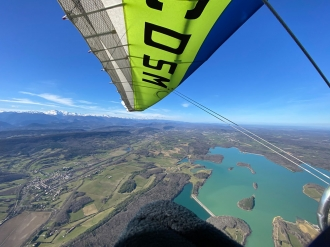First flight, by Rob Keene. Rob over a small strip near the Pyrenees on his first flight of 2021.